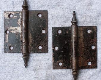 """Pair Cleaned 3.5""""x3.5"""" Antique Vintage Steeple Tip Cast Iron Steel Door Hinges"""