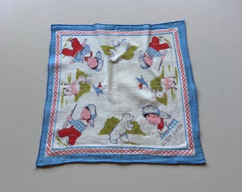 Vintage Child's HANKIE ~ Titled SCOUT CHIEF ~ Hunting for Bear, Deer, Ducks ~ Oh My!