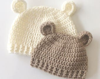Crochet Pattern - Baby Ear Beanie