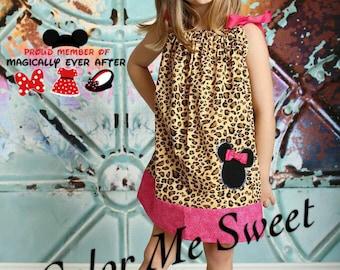 Girls dress, pillowcase dress, Minnie Mouse, cheetah print, girls fashion, Disney, animal kingdom,animal print