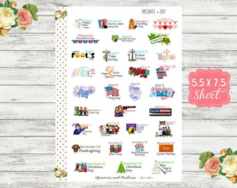 2017 US National Holiday Planner Stickers - National Day Stickers - Holiday Stickers - National Yearly Holiday Stickers
