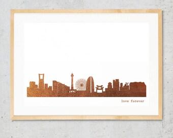 YOKOHAMA city poster, YOKOHAMA skyline print, copper art poster, Yokohama for Newbies, Yokohama Gift, Home Decor, Copper foil city art print