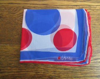 Vintage Vera Neumann Blue and Red Dot Sheer Scarf