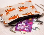Fox Coin Purse, Zipper Wallet, Woman Travel Pouch Foxes, Small Women Make Up Bag, Zipped Pouch, Card Holder, Gift for Her