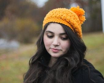 Crocheted Mustard Pom Pom Beret/ Mustard Hat/ Womens Winter Hat/ Girls Winter Hat/ Kids Winter Hat/ Winter Hat/ Beret/ Mustard/ Womens Hat/