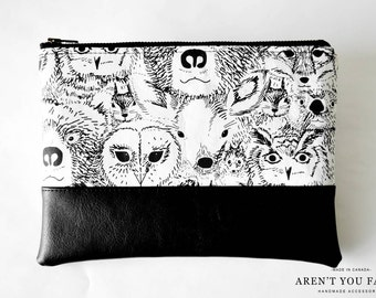 Cosmetic Bag, Clutch, Make-up Bag, Pouch, Black and White, Bear, Deer, Owl, Modern, Cotton and Faux Leather by Aren't You Fancy!