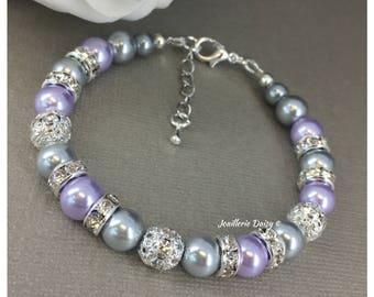 Lilac and Grey Pearl Bracelet Purple and Grey Bracelet Bridesmaid Purple Bracelet Bridesmaids Gift for Her Lavender Lilac Purple Wedding