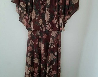 Brown Floral Disco Dress