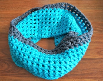 Turquise blue and grey infinity crochet scarf