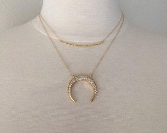 Layer Necklace Set, Gold Bar Necklace, Tusk Necklace, Gold Necklace, Boho, Tribal, 2 pc Set