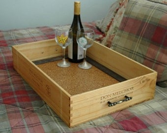 Wine Crate Serving Tray, Wooden Wine Crate Breakfast Tray, Crate Storage Box