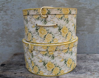 Vintage Hat Boxss, Yellow Roses Hat Boxes, Floral Wallpaper, Wall Papered Box, Shabby Cottage Chic, Vtg Home Deco, Set of 2