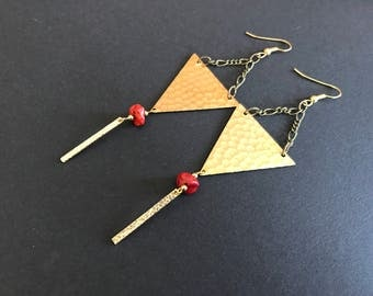 Textured Geometric Red Coral Earrings