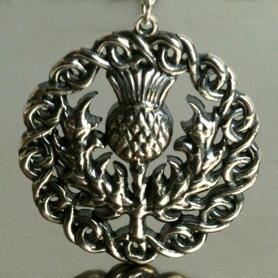 Scottish Thistle Pendant Necklace, Outlander Necklace, Sterling Thistle Pendant, Silver Thistle Necklace, Outlander Silver Pendant
