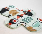 "Reusable Cloth Pad - 8"" Moderate - Happy Sushi Flannel"