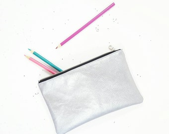 Metallic Pouch, Metallic Pencil Case, Metallic Wallet, Silver Wallet, Gift For Her, Birthday Gift, Gift For Teen
