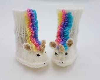Unicorn Baby Booties / Rainbow / UK Baby Size 2