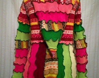 Pink/Green Watermelon Sweater Coat Size 14