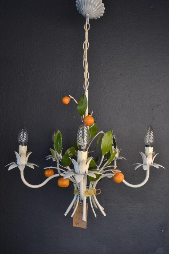 Beautiful toleware flower chandelier with tangerines