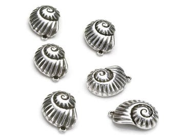 Nautical Shell Pendants/Charms  - Antique Silver - High Quality Metal Casting - Qty. 10