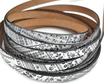 """10MM Flat Leather Cord Graffiti - High Quality Leather Cord - Made in EU - Qty. 1M/39.4"""""""