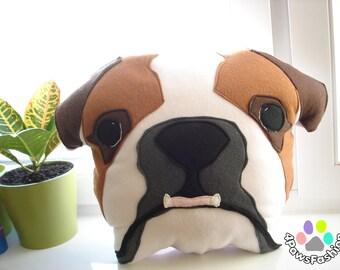 BUBBLES the English Bulldog pillow red brown grey white squishyface stuffed toy OOAK / 4PawsFashion