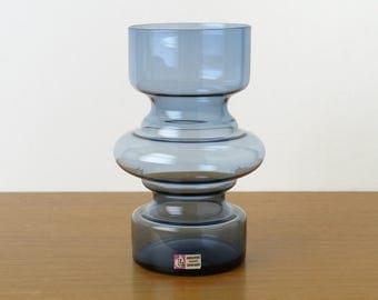 Lindshammar Sweden Gunnar Ander Vase; 1960s Retro Scandinavian Mid-Century Smokey Blue Hooped Vase
