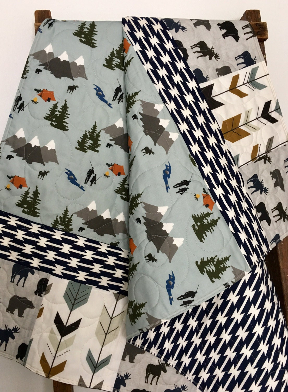 Baby Quilt Baby Bedding Camping Boy Nursery Fishing Baby