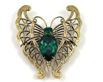 Czech Crystal Butterfly Pin and Pendant Base Metal Circa Late 1930 - 1940