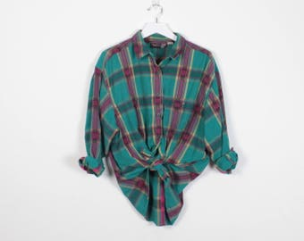 Vintage 1990s Shirt Teal Green Mustard Gold Hot Pink Embroidered Plaid Shirt 1990s Shirt Button Down Boyfriend Shirt Grunge Shirt L Large XL