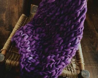 Newborn prop blanket, Thick and thin Bump Blanket, Chunky Knit Layering Blanket, Basket Filler, Basket Stuffer,Concord Purple prop Blanket