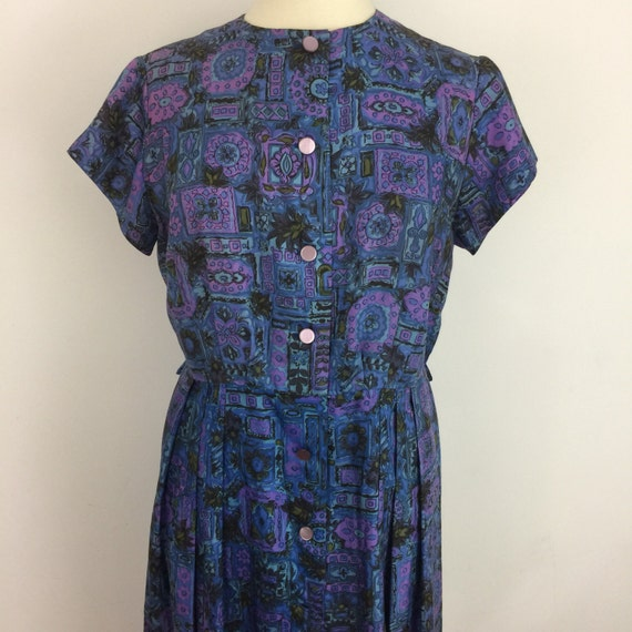 Vintage dress floral midcentury print dress blue button front frock UK 16 plus size early 1960s frock late 1950s day dress Mod St Michael