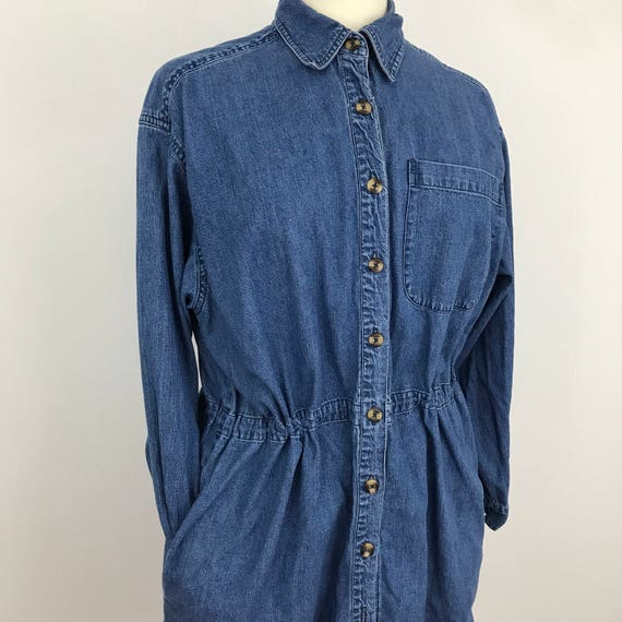 Vintage denim dress oversized shirtdress masculine cut midi blue nu wave avant garde large