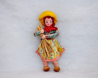 Vintage Cloth Doll - Alentejo Portugal Doll - Vintage Regional Doll - Travel Souvenir Doll - Ethnic Doll - Portuguese Doll - Fabric Doll