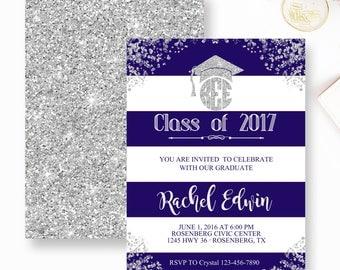 Graduation Invitation, Girl Boy Graduation Invite, Blue and White Stripe Grad invitation, Grad party Invite, Silver and Blue Grad- YOU PRINT