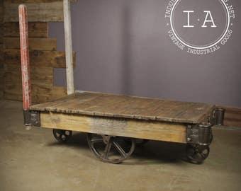 Vintage Industrial Nutting Factory Rail Yard Rocker Cart Coffee Table