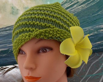 GREEN YELLOW HAT . 2 colors of spring greens . Yellow Plumeria Flower clip for hat styling . Hand Knit . Unique . 1 size fits most . Fast Sh