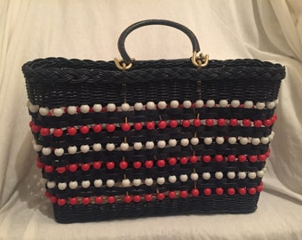 1970's Navy Blue & Red Wire Handbag