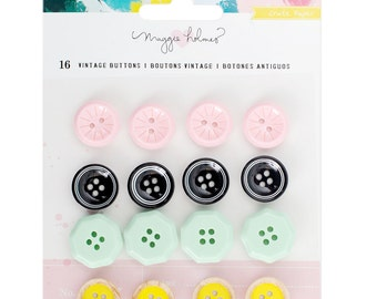 Maggie Holmes - Crate Paper - Chasing Dreams Collection - Vintage Buttons - 16 pieces - 375962