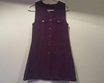 deep purple corduroy button-down minidress