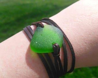 Leather wrap & tie bracelet// Green ocean tumbled sea glass