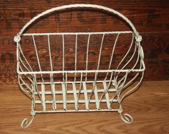 Vintage White Shabby Chic French Wrought Iron Magazine Rack