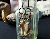 Fox bone chainmail earrings in brass