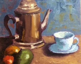 Silver Teapot - still life original oil painting 12x16