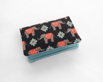 Elephants Mini Wallet, Credit Card Case, Business Card Case