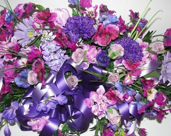 """Deluxe Purple Pansy Grave Pillow 24"""" x 20"""" with assorted Wildflowers Bow and Lavender and Purple Ribbons to Match comes with Ground Stakes"""