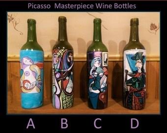 masterpiece art,picasso,van gogh,starry night,glass anniversary,painted wine bottles,wine decor,wife gift,hostess,