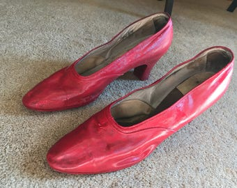 1920's Satin Shoes, ruby slipper base shoes (not wearable - painted)