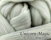 Undyed Unicorn Magic Roving - Ecru, 8 oz - Rambouillet, Merino, Faux Angora, Stellina - Sparkle Roving - Spinning - Combed Wool Top