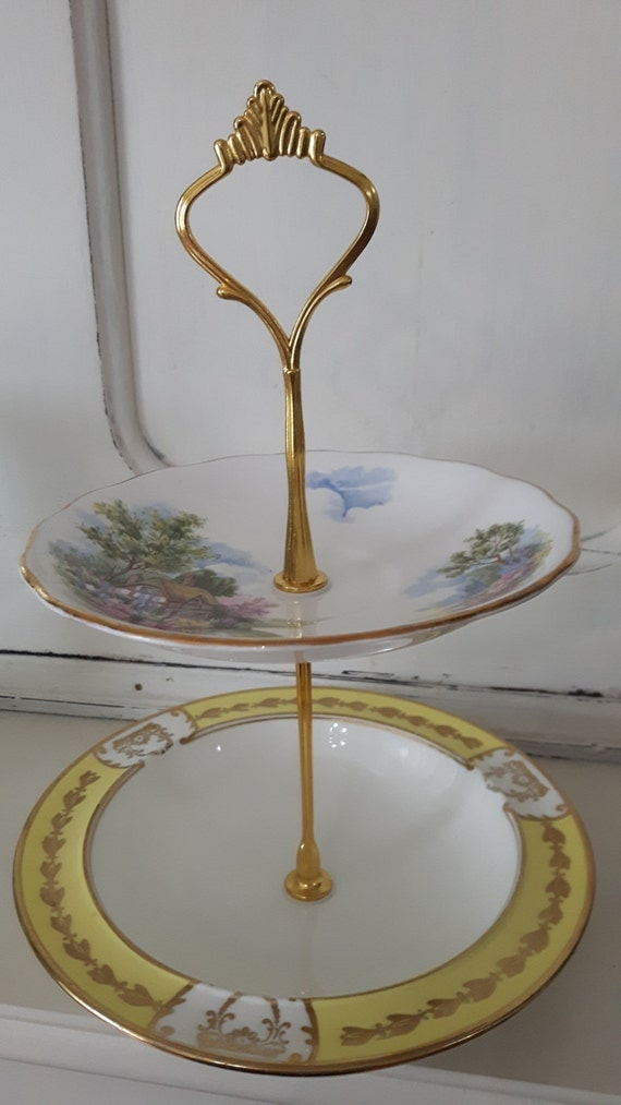 Hand made vintage china cake stand, trinket stand, beautiful floral cottage design